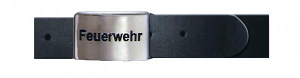 "Echtleder-Koppelgürtel, schwarz, ""Feuerw"