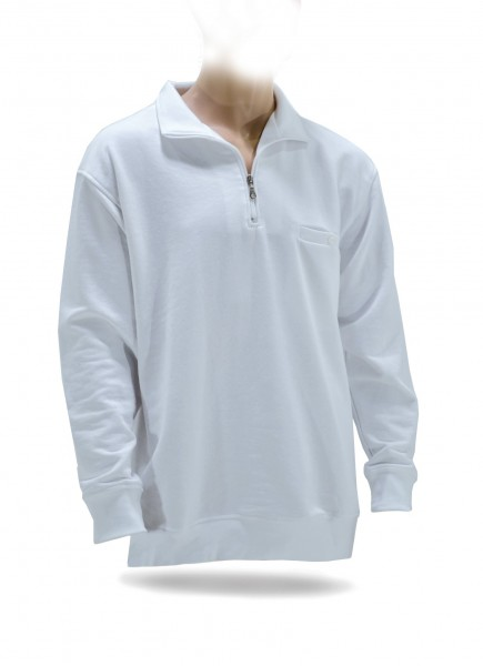 NA-Zip-Sweatshirt, Brusttasche weiß